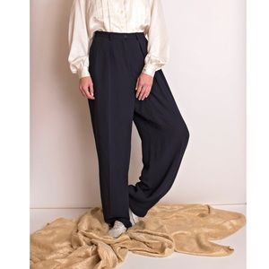 Vintage 80s navy high waist trouser pants